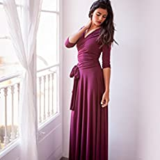 Long sleeve burgundy convertible bridesmaid wrap dress - Size M