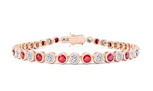 Infinity Rubis et Diamant Or Rose 18carats vermeil Bracelet Tennis (7in-17,78cm)