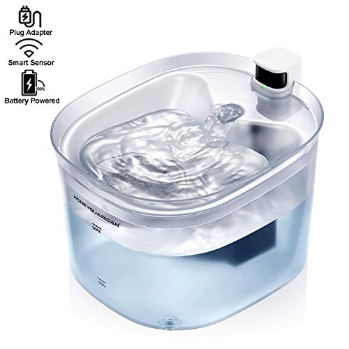 HoneyGuaridan Pet Fountain Battery Operated Dual Power Design Cat Water Fountain Dog Water Dispenser, 84oz/2.5L Automatic Drinking Fountain with Infrared Sensor for Cats and Small & Medium Dogs