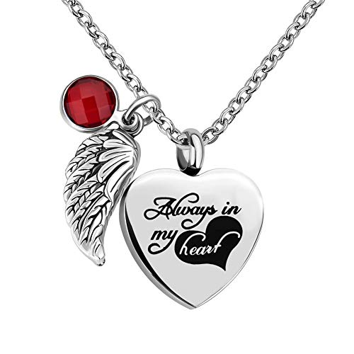 - CLY Jewelry Always in My Heart Memorial Jewelry Urn Necklace for Ashes Stainless Steel Love Heart with Angel Wings Birthstone of January Garnet Red Crystal Cremation Necklace