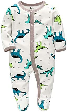 Uni-Wert Baby Romper Jumpsuit Cotton Unisex Baby Boys Pajamas Girls Cartoon One-Piece Coverall