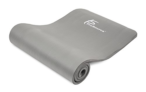 Prosource Premium 1/2-Inch Extra Thick 71-Inch Long High Density Exercise Yoga Mat with Comfort Foam and Carrying Straps, Grey, Frustration-Free Packaging