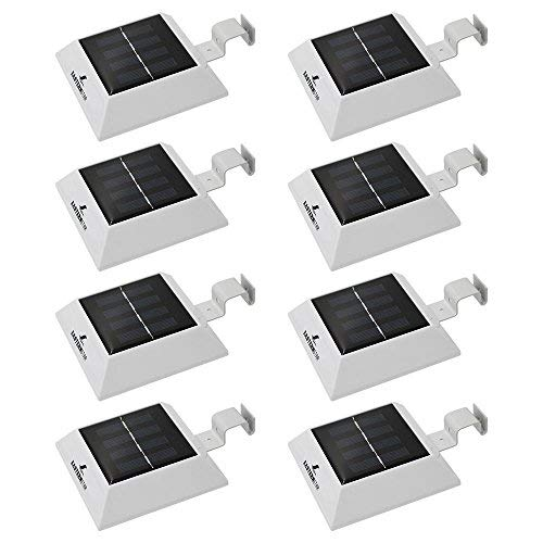 [Pack of 8] Easternstar Outdoor Solar Gutter Lights Solar Powered Waterproof Security Lamp for Eaves Driveway Garden Fence Roof