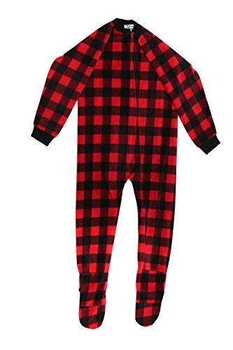 95598-7A-5/6 Prince of Sleep Footed Pajamas / Micro Fleece Blanket Sleepers, Black /re buffalo plaid