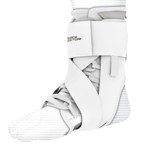 (Shock Doctor Ultra Wrap Lace Ankle Support (White, X-Large,9.5–10))