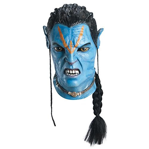 [Avatar Deluxe Overhead Adult Jake Sully Latex Mask, Blue, One Size] (Avatar Costume Accessories)