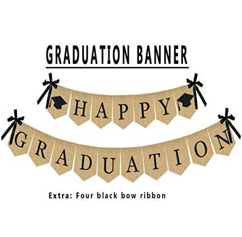 Happy Graduation Banner, Stoundgee Rustic Vintage Burlap Graduation Decorations Grad Party Decor for Home, College, Senior, High School Prom Decorations]()