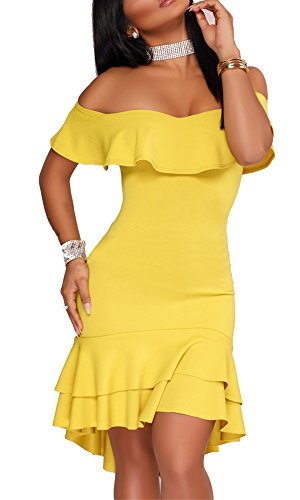 Yellow Ruffle (Lemosery Women's Sexy Off Shoulder Ruffle Evening Party Bodycon Mermaid Midi Dress)