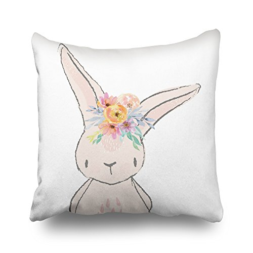 Whimsical Rabbit - Pakaku Throw Pillows Covers For Couch/Bed 20 x 20 inch,Bunny Rabbit Whimsical Pink Baby Nursery Home Sofa Cushion Cover Pillowcase Gift Decorative Hidden Zipper Summer Beach Sunlight