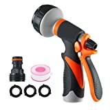MOZEEDA Garden Hose Nozzle Spray Nozzle, Water Nozzle 8 Adjustable Watering Patterns High Pressure Flow Control Rear Trigger Design for Watering Plants, Cleaning, Car Wash and Showering Pets