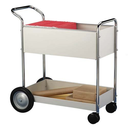 Fellowes Mail Cart - 2 Shelf - 2 x 10'', 2 x 4'' Caster - Steel - 16.25'' x 38'' x 39'' - Gray, Silver, Chrome by Fellowes