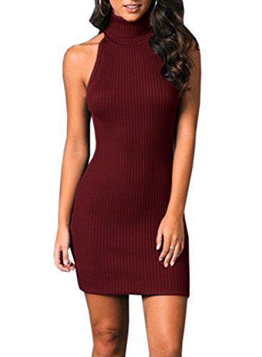 Open Back Turtleneck Dress - 5