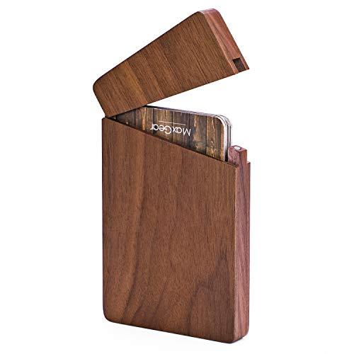 MaxGear Business Card Holder Wood Business Card Holders, Business Card Case Name Card Holder for Men Pocket Card Holder with Magnetic Closure, Walnut