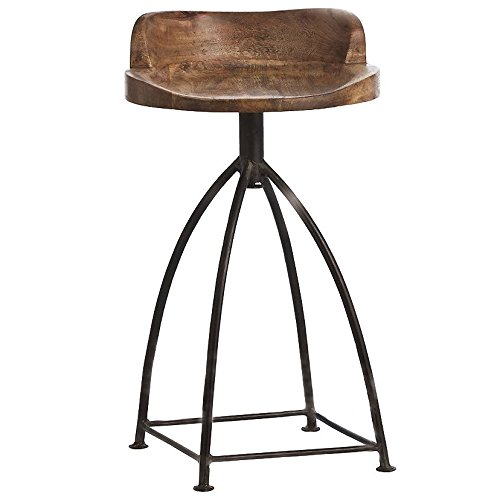 Iron Counter Stools - Kathy Kuo Home Missoula Industrial Loft Antique Wood Iron Swivel Counter Stool
