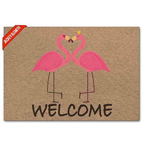 Jackey&Smith Door Mat Funny Doormat Welcome Flamingo Mat Welcome Mat Entrance Floor Mat Rug Non Slip Balcony Mat Felt Fabric 23.6-Inch by 15.7-Inch