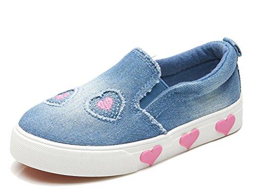 iDuoDuo Girls Cute Heart Low Top Denim Slip On Casual Loafers Sneakers Blue 1.5 M US Little Kid