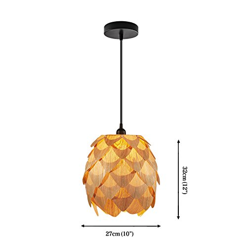 Huarsp B5201704 Fashion Pineapple Wood Veneer Material Shape Chandeliers for Restaurant, Study, Kitchen,Bedroom, etc.Burlywood by Huarsp (Image #3)