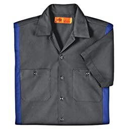 Dickies Occupational Workwear LS524CHRB 2XL Polyester/ Cotton Men\'s Short Sleeve Industrial Color Block Shirt, 2X-Large, Dark Charcoal/ Royal Blue