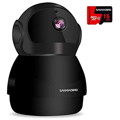 Home Security Camera 1080P, Include 16GB Card FHD Wireless IP Pan/Tilt/Zoom Cam,WiFi Surveillance Dome Cameras,Two-Way Audio,Motion Detection from Sanxiaobro