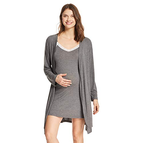 LAMAZE Intimates Womens Maternity Nursing V-Neck Nightgown Matching Belted Robe Set Charcoal Heather Small ()