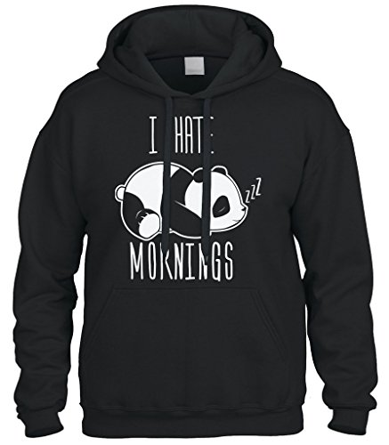 Panda Hoodie (Cybertela I Hate Mornings Panda Bear Sweatshirt Hoodie Hoody (Black, X-Large))