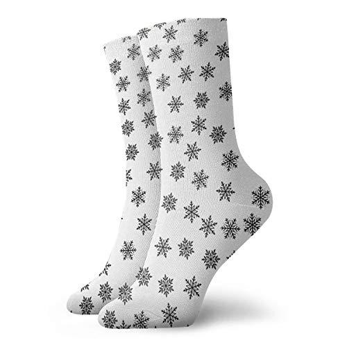 - PengMin Clipart Black and White Snowflake Leisure Cotton Socks Men and Women Sports Socks