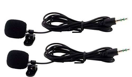 RiteCable (2 Pack) Lapel Lavalier Clip Microphone 3.5mm - Wireless Amp Cord