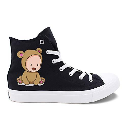 Mujer Alpargatas para de de señoras nuevos de Segundo Redondeada Blanco Zapatos Casual Zapatos Cordones Punta Lona Negro de con Amantes Las 5padnvwW4x
