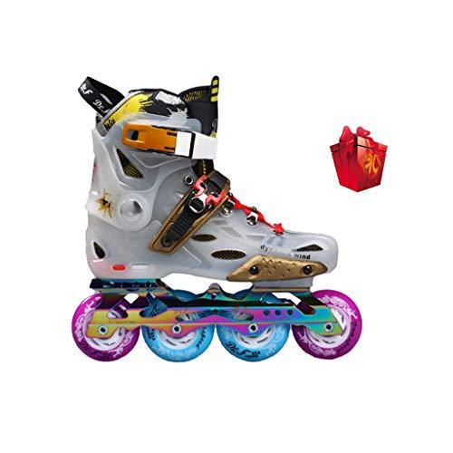 確執忌避剤会社ailj インラインスケート、単列スケート大人の男性と女性のセットローラースケートプロローラーシューズ(カラフル) (色 : 4, サイズ さいず : EU 35/US 4/UK 3/JP 22.5cm)