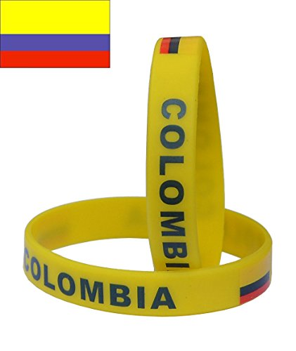 VEWCK Flag Silicone Bracelet Classic Bangle Letter pattern 40 countries 2-Pack (Colombia-Yellow)
