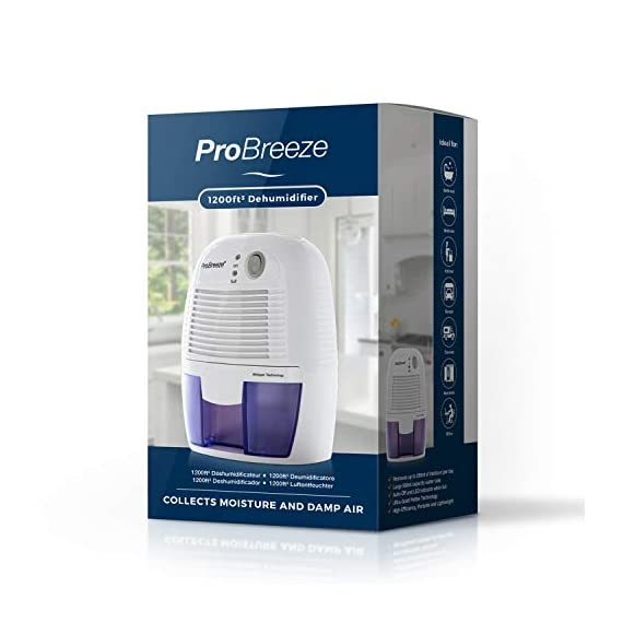 Pro Breeze Electric Mini Dehumidifier, 1200 Cubic Feet (150 sq ft), Compact and Portable for High Humidity in Home, Kitchen, Bedroom, Bathroom, Basement, Caravan, Office, RV, Garage with Auto Shut Off 7 Small & Compact: Lightweight, Compact and Portable, Capable of removing up to 9 ounces of water per day with a 16-ounce water tank capacity. Ideal for rooms up to 1200 cubic feet (150 sq ft). Only works effectively above 15°C / 59°F. Auto Shut-Off: When full the dehumidifier will automatically shut off and the LED light will turn-on indicating the water tank needs draining. Simply empty the water tank and place it back into the dehumidifier. Ultra-Quiet & Energy Efficient: Whisper quiet operation in bedrooms, bathrooms and offices, at an output of 23W per hour, which means only using 0.55kW after running for 24 hours.
