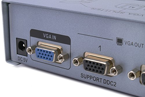 DTECH 2 Way Powered VGA Splitter Amplifier Box High Resolution 1080p SVGA Video 1 in 2 out 250 Mhz for 1 PC to Dual Monitor Computer by DTech (Image #2)