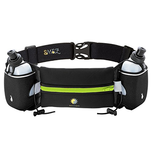Hydration Belt for Runners - Two 10-Ounce BPA Free Water Bottles - 7 inch Pouch - Comfortable and Lightweight - Running Hydration Pack By Sun Moon and Zen (Black and Neon Green)
