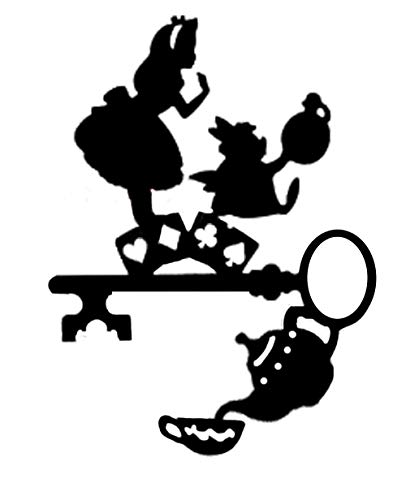 ValueVinylArt Alice in Wonderland (with key and teapot) Wall Decal 16x22 (Black)