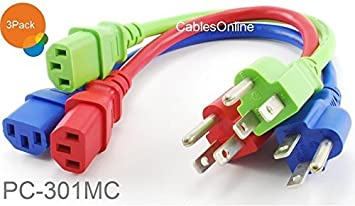 18AWG Short 3-Conductor PC Power Cord NEMA 5-15p to IEC C13 Cable 5-PACK 1ft