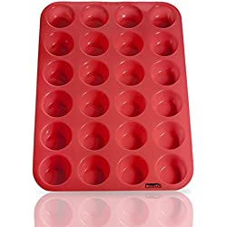 Laminas 24 Cup Silicone Mini Muffin Pan, 34.5X24-cm, Red