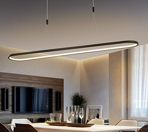 Royal Pearl Modern Linear LED Chandelier Lighting with Adjustable Hanging Light, Black