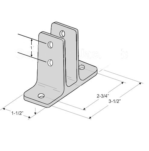 Chrome Plated Zamac Urinal Screen Brackets - 3/pk - for 7/8'' Restroom Partition Panels