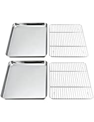 P&P Chef Baking Sheets and Racks Set, Pack of 4 (2 Sheets + 2 Racks), Stainless Steel Baking Pans Cookie Tray with Cooling Rack, Non Toxic & Healthy, Mirror Polish & Easy Clean