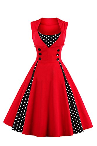 Pin Up Dresses For Sale (YMING Women's Polka Dot Retro Vintage Style Cocktail Party Swing Dress Red L)