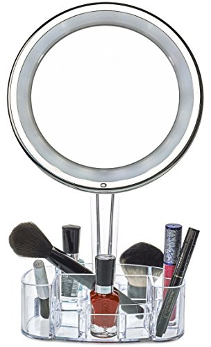 daisi Magnifying Lighted Makeup Mirror with Cosmetic Organizer Base | 7X Magnification, LED Lighted Free Standing Bathroom Mirror for Vanity, Desk or Tabletop by daisi