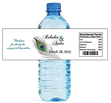 100 new peacock wedding water bottle labels great for engagement bridal shower party 8x2quot