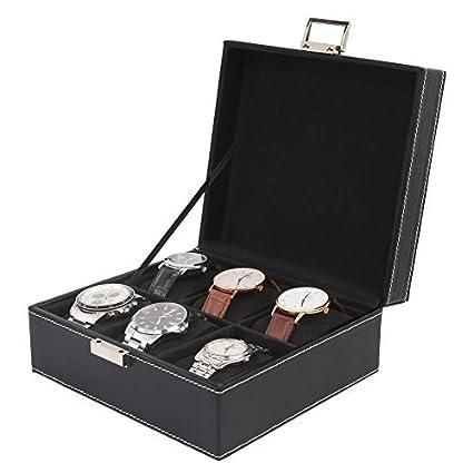 MVPOWER Caja para Relojes Estuche para Guardar Relojes Expositor de Relojes Caja de Almacenamiento de Relojes Organizador para Relojes (Negro, 3 x 2)