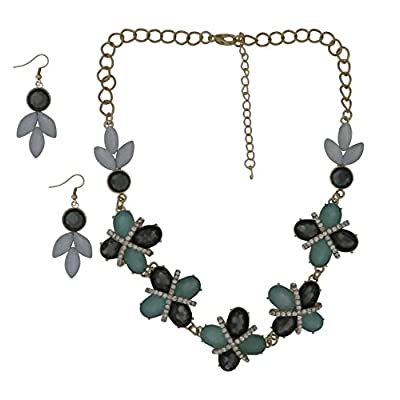 Cheap Goldtone Simulated Smoky Topaz Gray Green X Necklace Earring Jewelry Set supplier