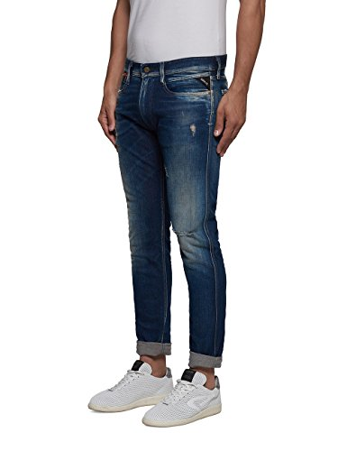 Azul Hombre Jeans Anbass Blue REPLAY Denim Coin Zip wPUZnWqa