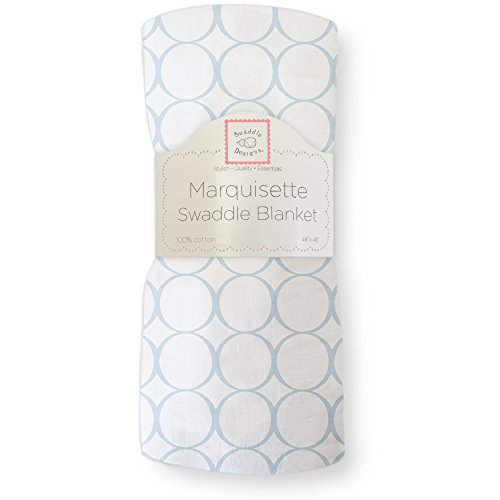 (SwaddleDesigns Marquisette Swaddling Blanket, Premium Cotton Muslin, Pastel Blue Mod Circles)