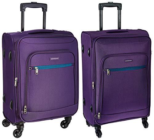 Aristocrat Nile Polyester 54 cms Purple Soft Sided Carry-On + Nile Polyester 66 cms Purple Suitcase (STNILW54PPL + STNILW66PPL)