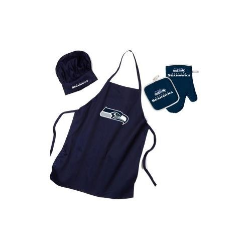 NFL Seattle Seahawks Team Logo Barbeque Apron, Chef's Hat and Pot Holder Deluxe Set ()