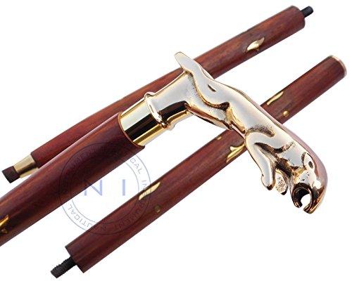 Vintage Antique Style Brass Wood Victorian Walking Stick Cane Spiral Carved 37