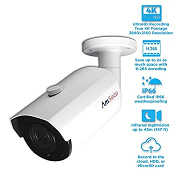 Image of Bullet Cameras UltraHD 4K (8MP) H.265 Bullet POE IP Security Camera, Day/Night/IR Vari-Focal Motorized 2.8-12mm Lens, IP66 Weatherproof (CA-IP-BMR)
